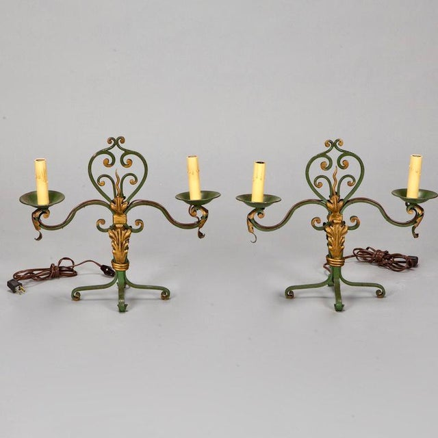 Pair French Two Light Green and Gilt Metal Candelabra Table Lamps - Image 4 of 4