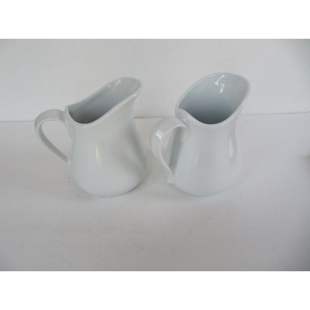 French Vintage Apilco France Classic Whiteware Porcelain Pitcher/ Creamer- 2 Pieces For Sale - Image 3 of 5