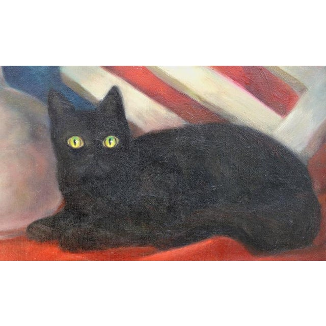 Country Black Cat & Vase Still Life Painting For Sale - Image 3 of 5