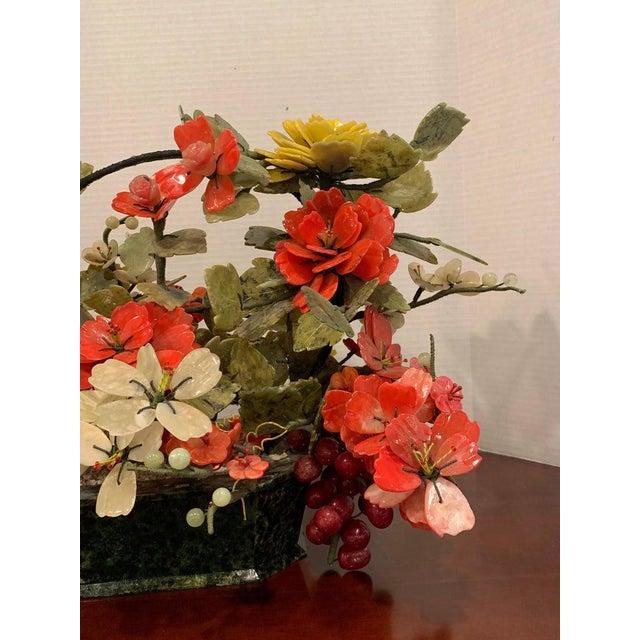Vintage Chinese Export Hardstone Basket Floral Arrangement For Sale - Image 4 of 13