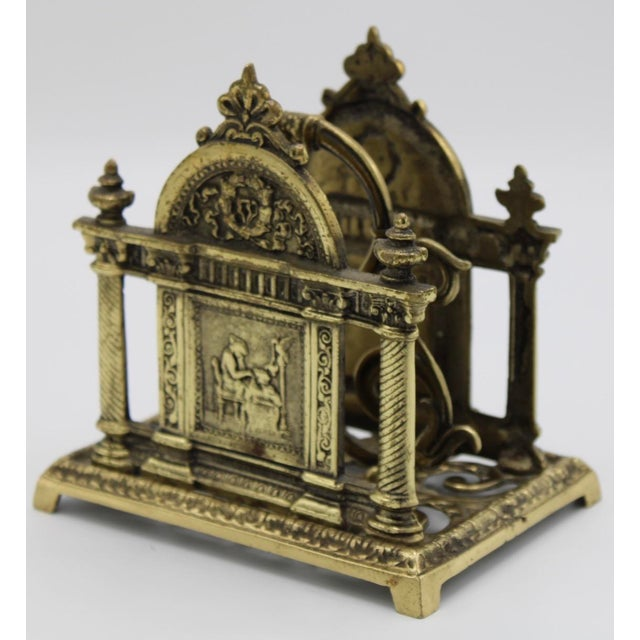 Renaissance Revival Double Brass Letter Rack With Carrying Handle For Sale - Image 11 of 12