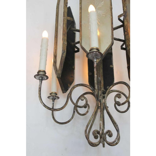 Unusual Hollywood Regency Style Italian Iron and Mirror Lantern Chandelier