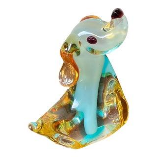 Late 20th Century Murano Glass Dog Figurine For Sale