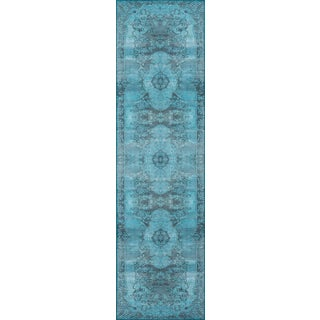 "Momeni Afshar Polyester Blue Runner - 2'3"" X 7'6"" For Sale"