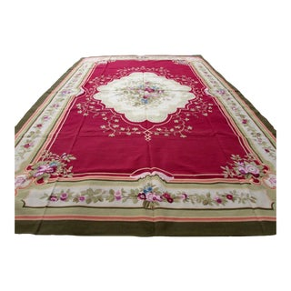 1980s, Handmade Vintage French Aubusson Oversize Rug 12.2' X 18' For Sale