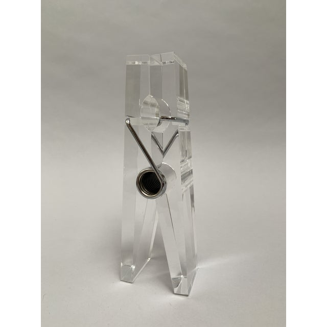 Pop Art Oversized Lucite Clothespin Paperweight or Paper Holder For Sale - Image 3 of 13