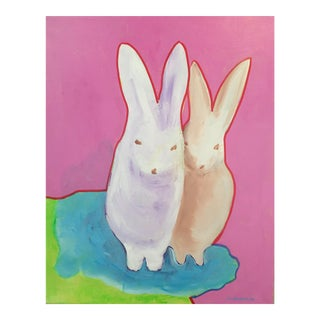 """The Bunnies"" Pop Art Actylic Portrait in Pink"