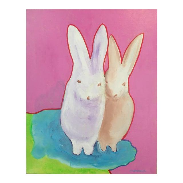 """The Bunnies"" Pop Art Actylic Portrait in Pink For Sale"