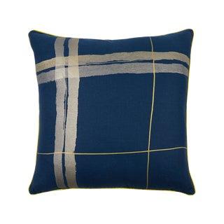 """Brushstroke Plaid 22"""" Pillow, Indigo For Sale"""