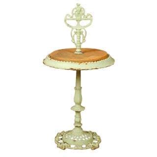Antique French Cast Iron and Travertine Garden Side Table French Gueridon For Sale