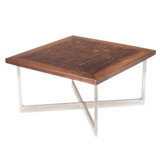 Rare Walnut Butcher Block Coffee Table For Sale