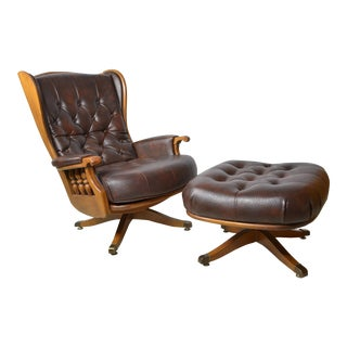 Large Heywood Wakefield Leather Swivel Chair Ottoman Set For Sale