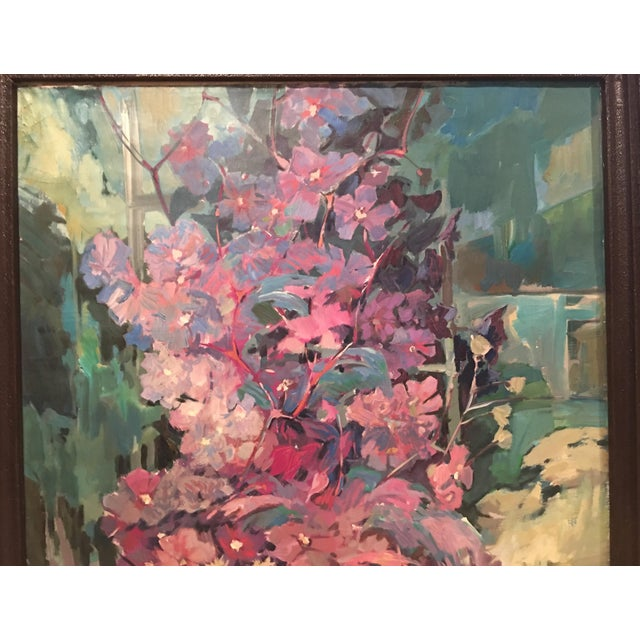 "Canvas ""Clematis"" Flowers Original Oil Painting by Jan Matras For Sale - Image 7 of 11"