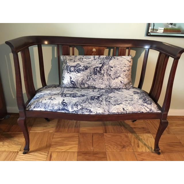 Mahogany Settee With Matching Oblong Pillow Cover For Sale - Image 13 of 13