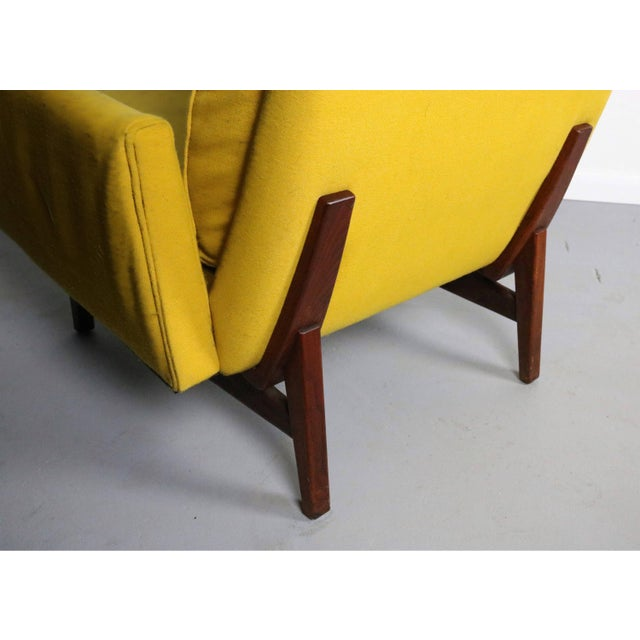 Contemporary Rare Jens Risom 2118 Yellow on a Walnut Frame Lounge Chair For Sale - Image 3 of 4