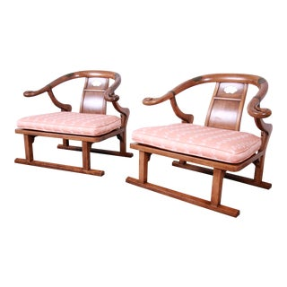 Baker Furniture Mid-Century Chinoiserie Walnut Yoke Back Low Lounge Chairs, Pair For Sale
