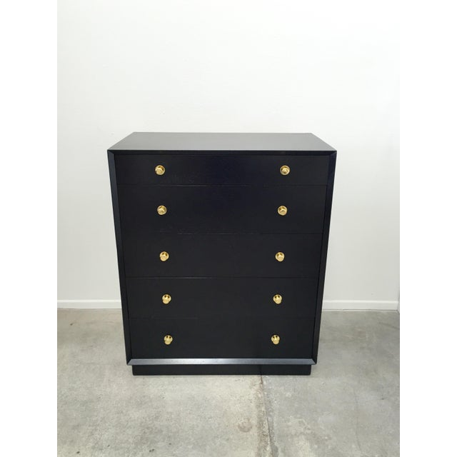 Ebonized Tall Dresser with Solid Brass Hardware For Sale - Image 10 of 10