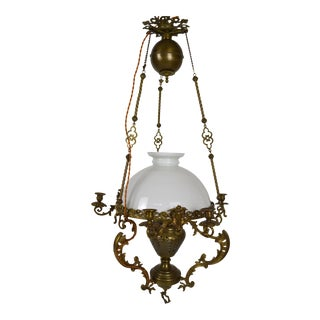 19th Century Antique French Chandelier in Bronze and Brass For Sale