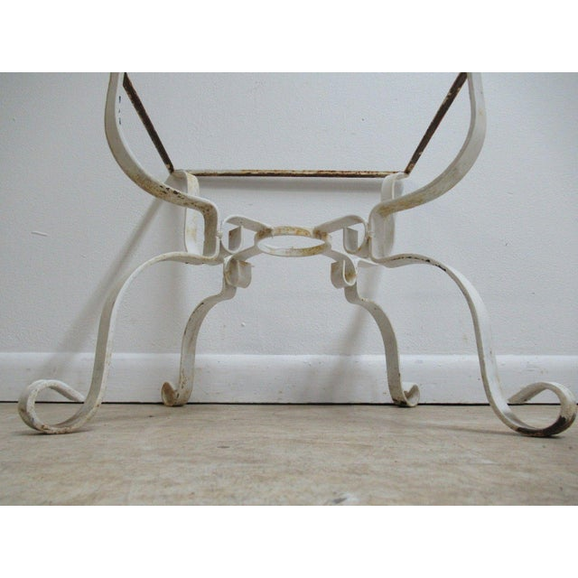 Vintage French White Outdoor Square Patio End Table For Sale - Image 9 of 11