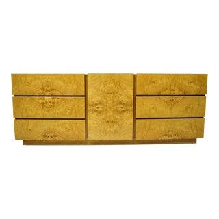 Mid Century Modern Burl Wood Long Dresser Credenza Cabinet by Lane Furniture For Sale