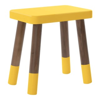 Tippy Toe Kids Chair in Walnut and Yellow Finish For Sale