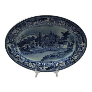 Blue and White Ironstone Platter For Sale