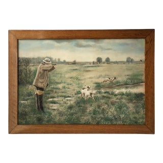 """""""Bird Hunter and Dogs"""" Pastel Drawing on Board Framed Painting For Sale"""