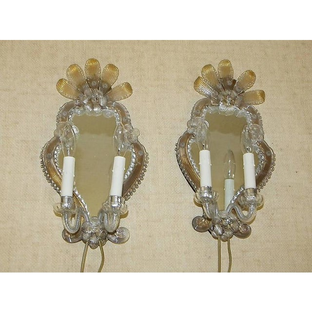 Metal 1920s Venetian Italian Mirrored Wall Sconces - a Pair For Sale - Image 7 of 12