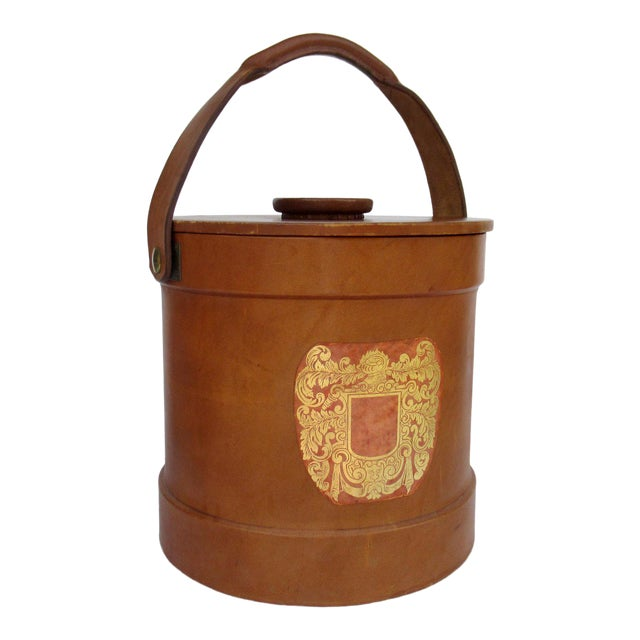 Vintage Italian Ralph Lauren-Style Tooled Saddle Leather Oversized Traveling Cooler, Wine Holder And/Or Ice Bucket For Sale