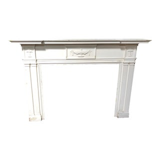 Oversized Antique White Wood Mantel For Sale
