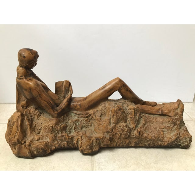 Clay Reading Boy Sculpture - Image 6 of 6