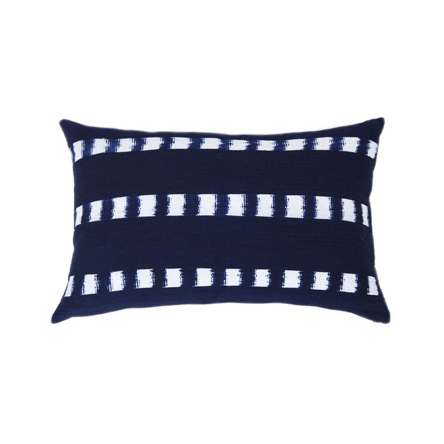 Guatemalan Striped Indigo Handwoven Pillow - Image 1 of 7