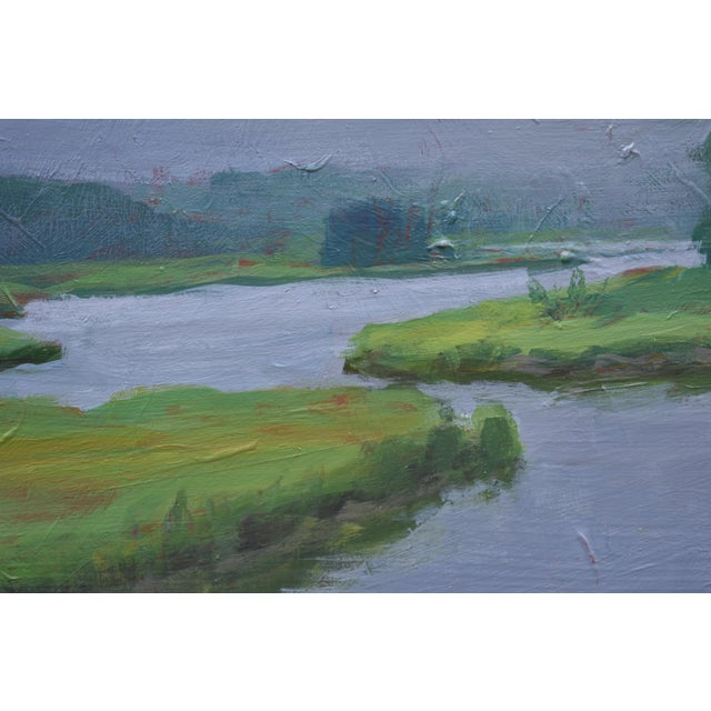 """Contemporary """"Inlet With Fog"""" Contemporary Plein Air Painting by Stephen Remick For Sale - Image 3 of 8"""