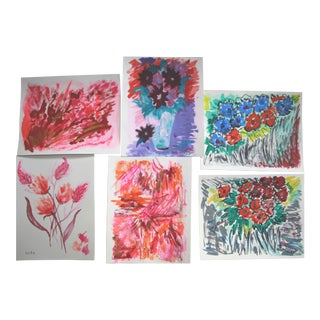 Abstract and Floral Paintings Set of 6 by Cleo For Sale