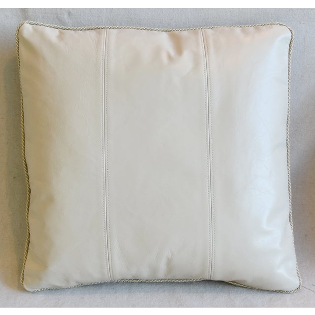 """Abstract Creamy Italian Tanned Leather Feather/Down Pillows 21"""" Square - Pair For Sale - Image 3 of 13"""