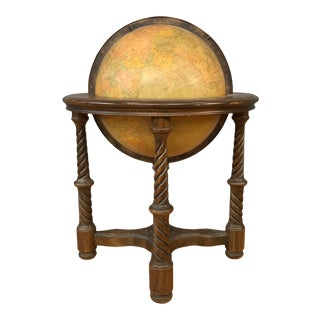 Vintage Large Replogle World Globe With Oak Stand For Sale