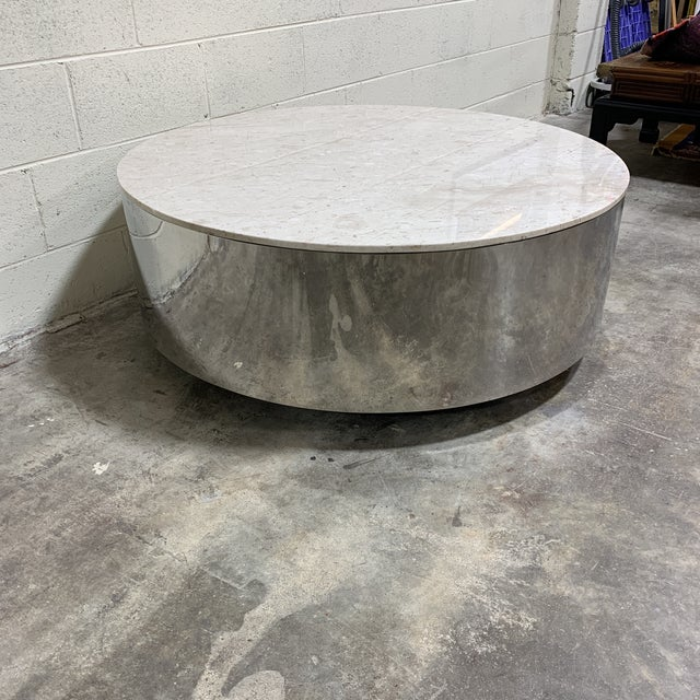 Mid-Century Modern 1970s Pace Carrara Marble & Chrome Drum Coffee Table For Sale - Image 3 of 11