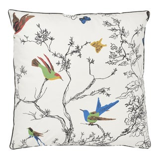 Schumacher Birds & Butterflies Pillow in Multi For Sale