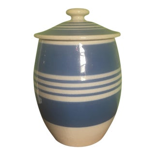 English Blue and White Ceramic Jar With Lid For Sale
