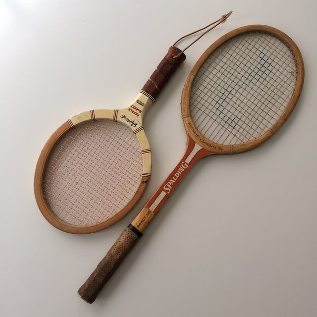 Vintage Spalding tennis racket and Sportcraft paddle racket. Perfect addition to a gallery wall.