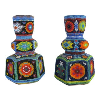 Mexican Folk Art Beaded Huichol Candle Sticks - a Pair For Sale