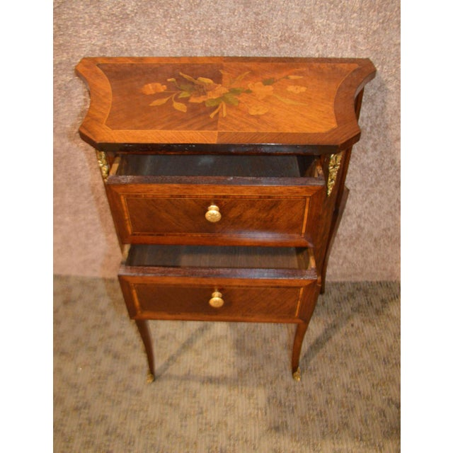 Antique French Inlaid Rosewood Two Drawer Small Chest - Image 2 of 11