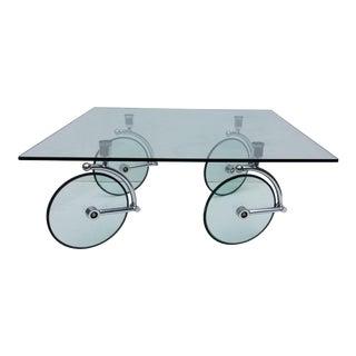 1970s Fontana Arte Glass and Chrome Coffee Table For Sale
