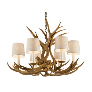 Natural Antler 6-Shade Chandelier For Sale