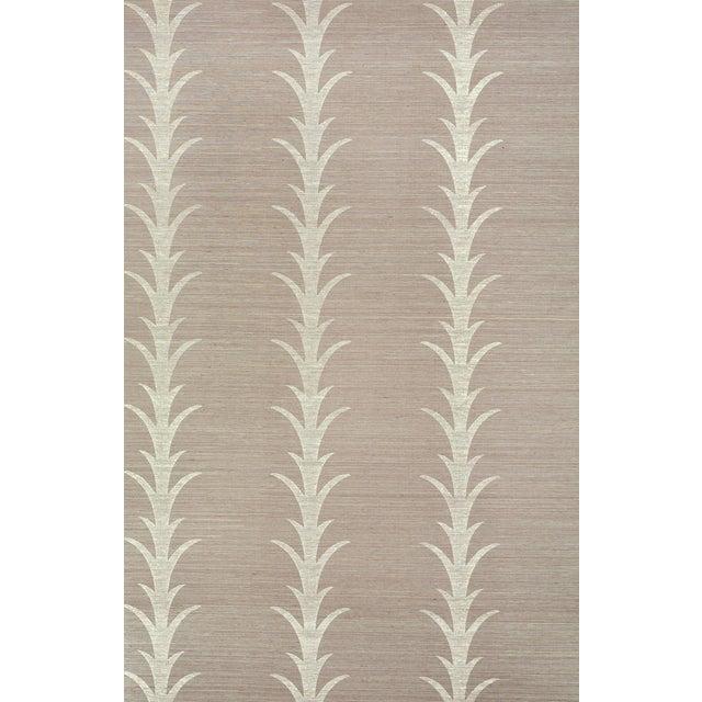 Sample - Schumacher X Celerie Kemble Acanthus Stripe Wallpaper in Haze For Sale