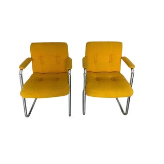 Mid-Century Yellow & Chrome Chairs - A Pair