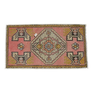 "Hand Knotted Door Mat, Entryway Rug, Bath Mat, Kitchen Decor, Small Rug, Turkish Rug - 1'10"" X 3'3"" For Sale"