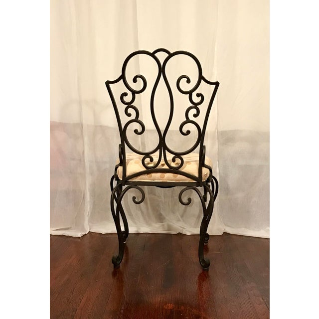 Mid Century French Wrought Iron Chairs After Jean- Charles Moreux Set of 6 For Sale In Los Angeles - Image 6 of 8