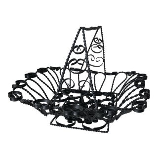 Antique French Wrought Iron Basket For Sale