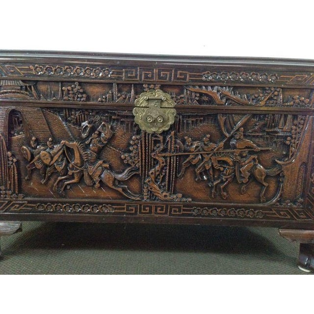 Chinese Carved Teak & Camphor Wood Chest - Image 7 of 11